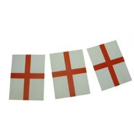 Double Sided Paper Bunting, St. George. Pack contains 10 Flags